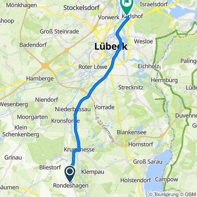 Taubenweg 5, Rondeshagen to Glashüttenweg 13, Lübeck