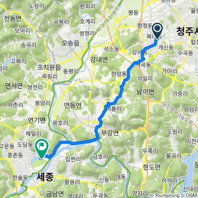 От Bokdae 2(i)-dong 838, Cheongju до Nam-myeon 922, Yeongi-gun