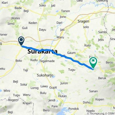 Gang 1 14, Kecamatan Kartasura to Jalan Astana Giribangun, Matesih