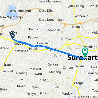 Gang 1 14, Kecamatan Kartasura to Jalan Jendral Sudirman no 2, Kecamatan Pasar Kliwon