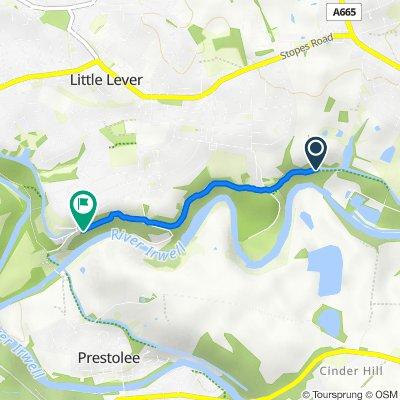 Route to Prestolee Road, Little Lever, Bolton