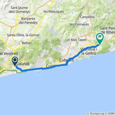 De Camí Vell de Calafell, El Vendrell à Rambla del Garraf, Sant Pere de Ribes