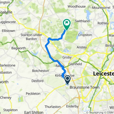 Route from 8 Oakwood Close, Leicester