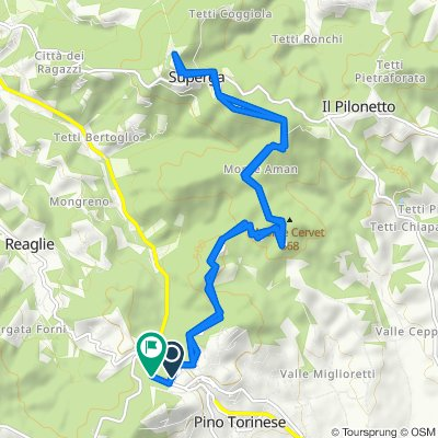 Da Via dei Colli 10, Pino Torinese a Via Torino 9, Pino Torinese