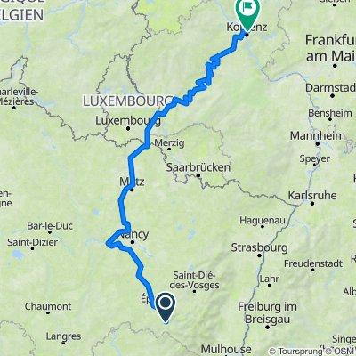 Mosel-Radweg, von Remiremont bis zum Deutschen Eck