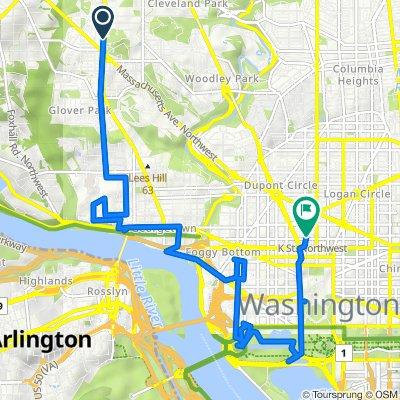 3030 Wisconsin Ave NW, Washington to 1101 17th St NW, Washington