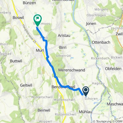 Güterstrasse, Mühlau nach Murimoos 1148, Muri AG