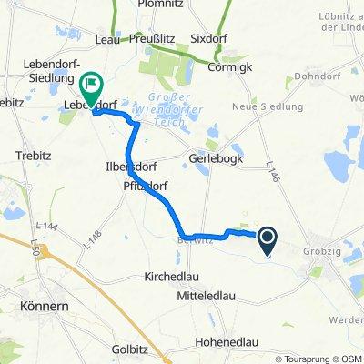 Route nach Wettener Straße 21–27, Könnern