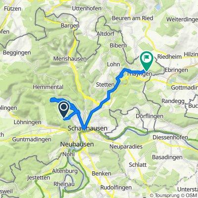 Wolfsbuckstrasse, Schaffhausen nach Buchbergstrasse 28–38, Thayngen