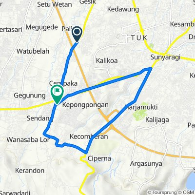E6, Kecamatan Kesambi to Jalan Ir. Soekarno No.7, RT.01, Kecamatan Talun