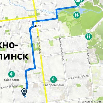 От Пограничная улица 58-Б, Южно-Сахалинск до улица Детская 1, Южно-Сахалинск