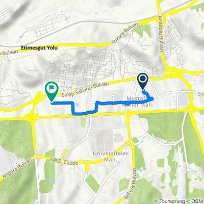 Route from 2142. Cd. 13, Cankaya