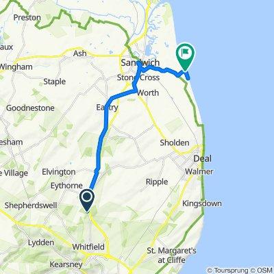Sandwich Road, Waldershare, Dover to Princes Dr, Sandwich Bay, Sandwich