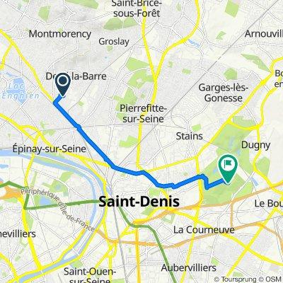 7 Rue Jean Bouin, Deuil-la-Barre to Parc Départemental de la Courneuve, La Courneuve
