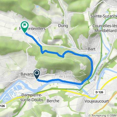 De 24 Rue de la Vieille Vie, Bavans à 2 Rue du Château d'Eau, Présentevillers