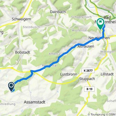 Route nach Tilsiter Straße 17, Bad Mergentheim