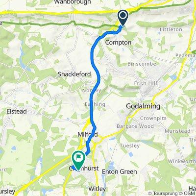 N Downs Way, Compton, Guildford to Hedgehogs, Gasden Lane, Godalming
