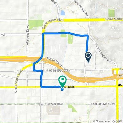 3347 E Foothill Blvd, Pasadena to 2960 E Colorado Blvd, Pasadena