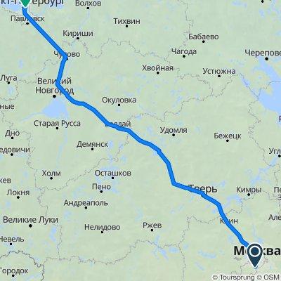От Варшавское шоссе 152 корпус 8, Москва до Мельничная улица 7 корпус 5, Санкт-Петербург