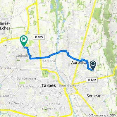 De Avenue de la Chartreuse 55, Aureilhan à Rue Maurice Montagnan 3, Bordères-sur-l'Échez