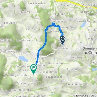 De 142 Chemin de Champcroux, Dompierre-les-Ormes à Route de Dompierre, Montmelard