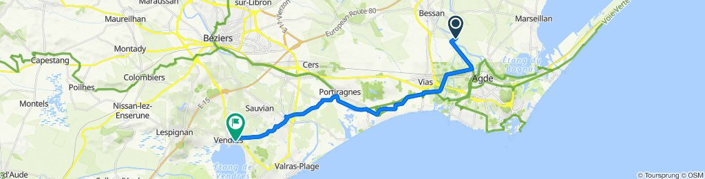 Itinéraire vers Chemin du Théron, Vendres