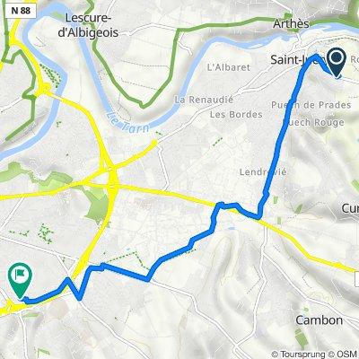 De Route de Villefranche 26, Saint-Juéry à Rue Marc Antoine Charpentier 13, Albi
