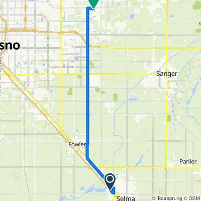CA-99 N, Selma to 7464 E Simpson Ave, Fresno