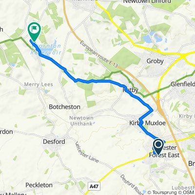 Route from 6 Oakwood Close, Leicester
