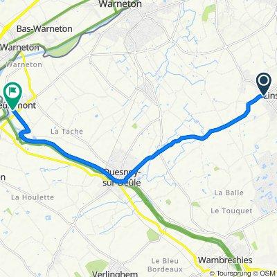 De 1 Rond-Point du Giratoire de la Navette d'Or, Linselles à 16 Rue du Maréchal Foch, Deûlémont