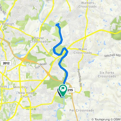 Route from 4301–4313 River Edge Dr, Raleigh