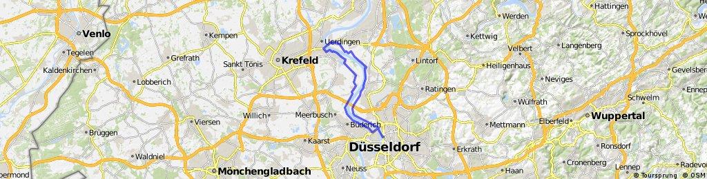 Düsseldorf Pempelfort, Kaiserswerth, Brücke Krefeld Uerdingen