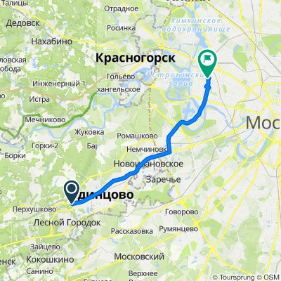 От улица Михаила Кутузова, 7, Одинцово до улица Маршала Бирюзова, 41, Москва