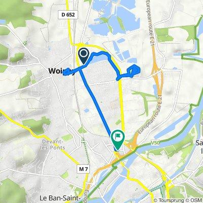 De 3 Rue de Berlange, Woippy à 1 Rue des Prémontrés, Metz
