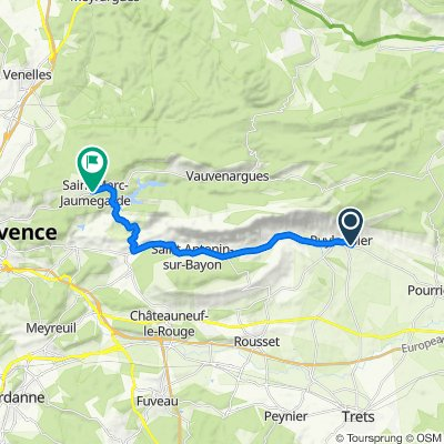 Route from 184 Impasse des Rouges-Gorges, Puyloubier
