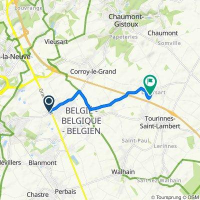 De Rue de Corbais 177, Mont-Saint-Guibert à Aux Sept Bonniers 1–11, Walhain