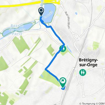 De Chemin de la Prairie Longeant l'Orge, Brétigny-sur-Orge à 126 Rue du Bois de Châtres, Brétigny-sur-Orge