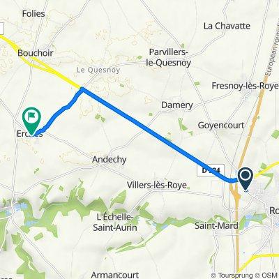 De Impasse du Moulin 8, Roye à Place de l'Église 6, Erches