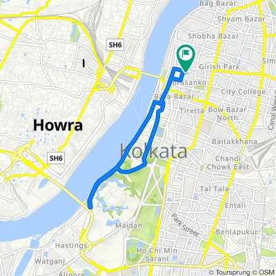 Garden Street, Kolkata to 6A, Hara Prasad Dey Lane, Kolkata