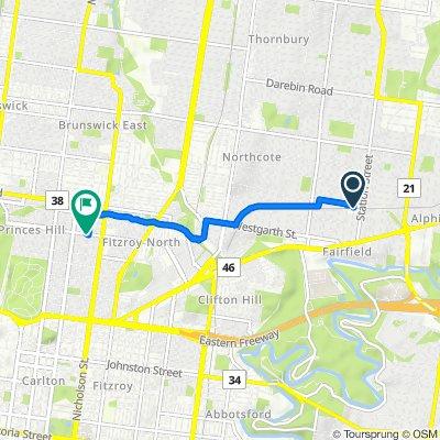 Route to Pigdon Street, Carlton North