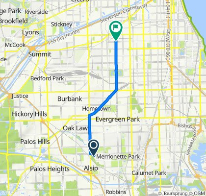11558 S Knox Ave, Alsip to 4955–5059 S Kedzie Ave, Chicago