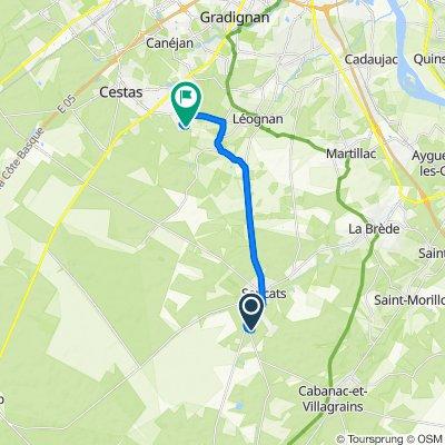 De 18 Chemin de Cassiney, Saucats à 1 Chemin de l'Aouguitche, Cestas