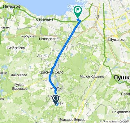От Ягодная улица 35, Большие Тайцы до Ленинский проспект 87, Санкт-Петербург