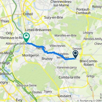De Route de Brie-Comte-Robert, Périgny-sur-Yerres à 17 Allée Beauséjour, Villeneuve-Saint-Georges