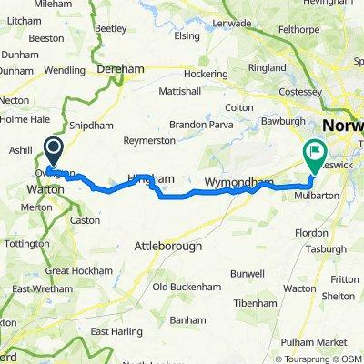 Dereham Road, Ovington, Thetford to Colroy, Swardeston Lane, Norwich