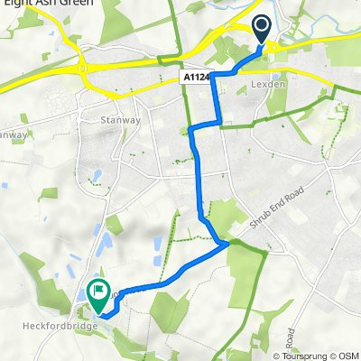 Route from Colchester Country Park, Cymbeline Way, Colchester