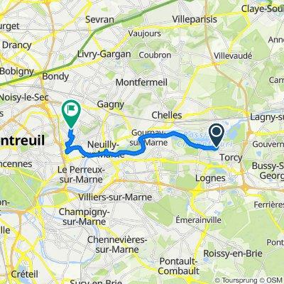 De Boulevard du Moulin de Douvre, Torcy à 102 Rue des Chardons, Rosny-sous-Bois
