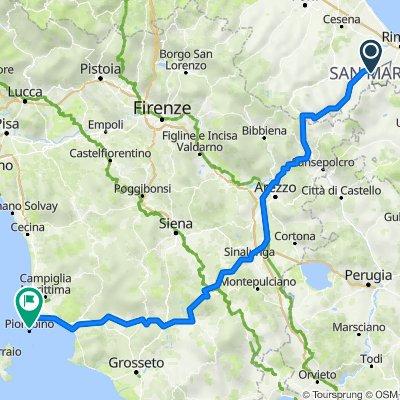 Da Via del Brugneto, Acquaviva a Viale della Resistenza 1–5, Piombino