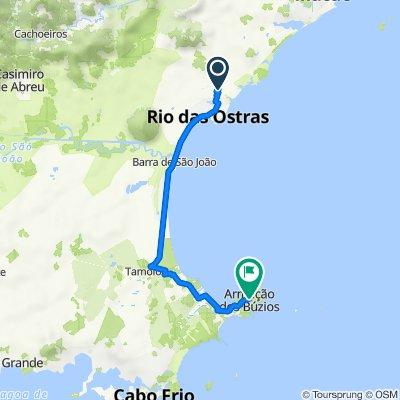 Route to Rua Pastor Gentil Medeiros, 64–96, Armação dos Búzios