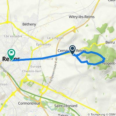 De 8 Boulevard des Loreaux, Cernay-lès-Reims à 13 Place du Forum, Reims